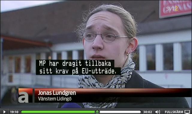 Lidingövänsterns Jonas Lundgren uttalade sig om kravet på att EU-utträdet ska strykas ur partiprogrammet - itv